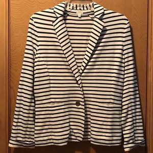 J.Crew Cotton Cream Cotton Blazer w/ Navy Stripes